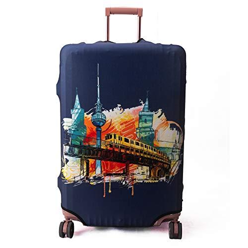"""Madifennina Protector de maleta divertida de dibujos animados para equipaje de 23-32 pulgadas (Building-city, XL (Se ajusta a 29 """"-32"""" Trolley Case))"""