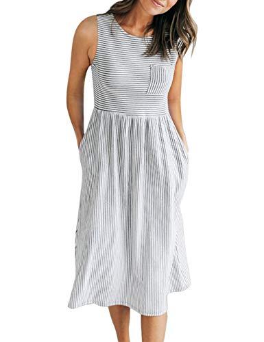 MEROKEETY Women's Sleeveless Striped High Waist T Shirt Midi Dress with Pockets
