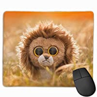 マウスパッド、ステッチエッジ付きマウスパッド、ライオン玩具ノンスリップラバーベースコンピュータ用マウスパッド
