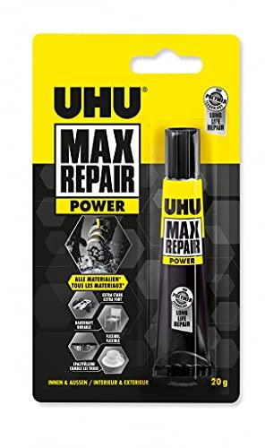 UHU 45820 Max Repair Extreme, Extra starker und universeller Reparaturkleber für nahezu alle Reparaturen im Innen- und Außenbereich, transparent, 20 g