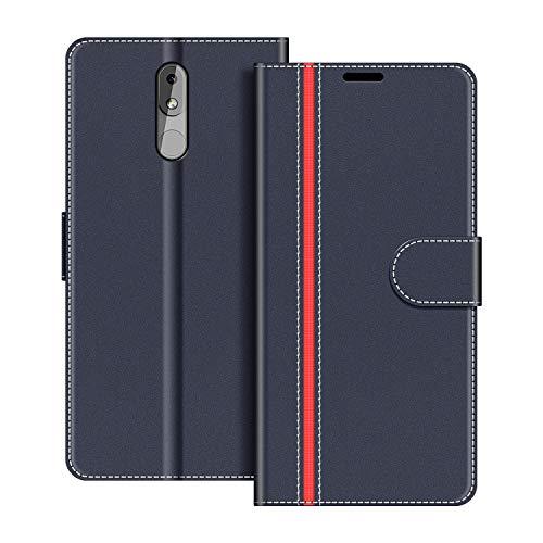 COODIO Handyhülle für Nokia 3.2 Handy Hülle, Nokia 3.2 Hülle Leder Handytasche für Nokia 3.2 Klapphülle Tasche, Dunkel Blau/Rot