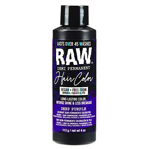RAW Deep Purple Demi Permanent Hair Color, Vegan, Free from Ammonia, Paraben & PPD, lasts over 45 washes, 4oz