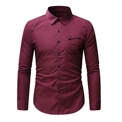 HuaCat Herren Hemd Langarm Businesshemden Modern Fit Bügelfreies Hemden mit Revers Kragen
