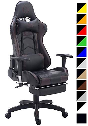 CLP Silla Gaming Turbo Tapizado En Cuero Sintetico, Tela o Cuero Sintetico Metalizado I Silla Gamer Giratoria & Regulable En Altura I Color: Negro/marron, Cuero sintetica
