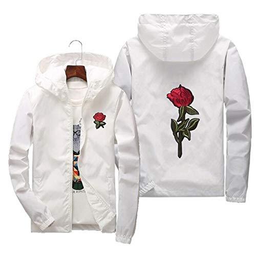 HNOSD Chaqueta Cortavientos con Bordado de Flores Rosas Chaqueta de Bombardero con Capucha de Gran tamaño Piel Chaquetas para Hombre Masculina