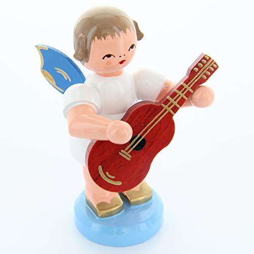 Engel staand groot met gitaar, blauwe vleugels