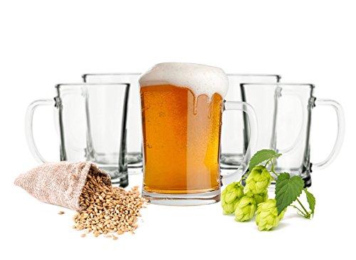 Sendez 6 Biergläser Set 0,5L Bierseidel Bierkrüge Bierglas Bierkrug mit Henkel Bier Pils Gläser