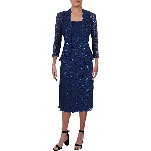 Alex Evenings Women's Tea Length Dress and Jacket (Petite and Regular Sizes), Navy 3/4 Sleeve, 12 (Apparel)