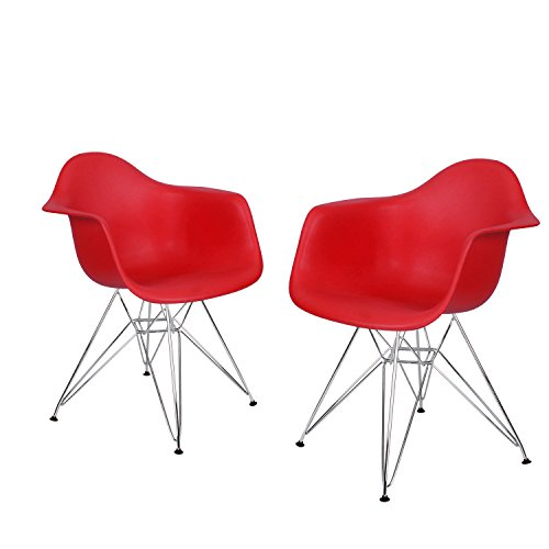 Adeco Charles & Ray Eames Modern Armchair Side Chair with Metal Legs, Reception Seat (Set of Two)