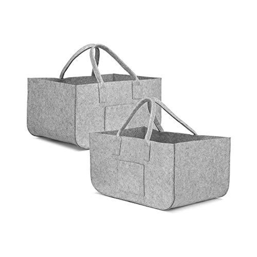 BANGSUN Cesta de fieltro para leña con asas y bolsa de almacenamiento, para la compra, plegable, para madera, color gris, 2 unidades