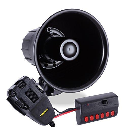 Sirena de coche con sonido de 6 tonos con sistema de altavoz de micrófono PA amplificador de sonido de emergencia, sonidos de...