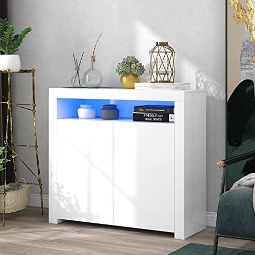Lazyspace Aparador con armarios, color blanco brillante con luz LED, mueble de cocina moderno buffet de madera con 2 puertas para salón, comedor, sala de estar