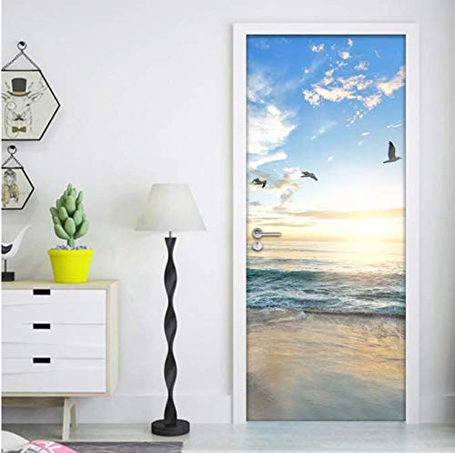 KAINUYA Photo Wallpaper Sandy Beach Sea View Door Sticker Wall Mural Living Room Bedroom Waterproof Self Adhesive Stickers Wall Paper(size:95×210cm) Poster wallpaper