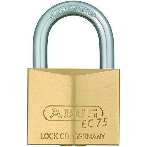 ABUS Hangschloss EC 75 mit Wendeschlüsseltechnologie, Schlosskörperbreite 40mm, Messing, 26408 5
