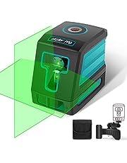 DETLEV PRO kruislijnlaser lijnlaser 360 ° draaibaar zelfnivellerende laser IP54 met houder incl. beschermtas groen