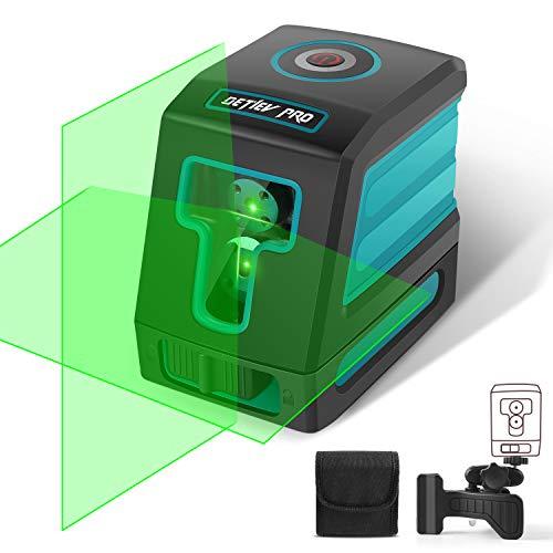 DETLEV PRO Kreuzlinienlaser Linienlaser 30M 360° Drehbar Selbstnivellierenden Laser IP54 mit Halterung Inkl. Schutztasche