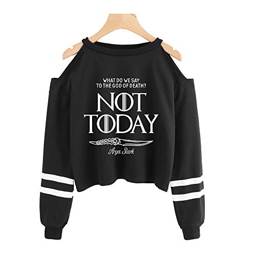 NOT Today Arya Stark KPOP Freiliegende Schultern und Freiliegende Nabel Pullover Sexy Mode Amerikanisches Drama A Song of Ice and Fire Sweater Pullover