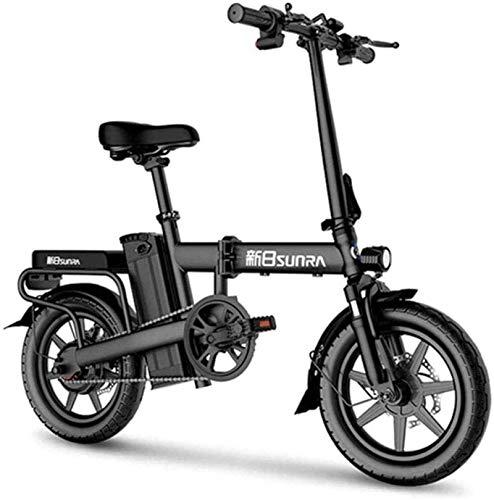 Bicicleta eléctrica de nieve, Bicicletas eléctricas rápidas for adultos de 14 pulgadas plegable bicicleta eléctrica con luz delantera LED de 48V for adultos extraíble de iones de litio de 350 W sin es