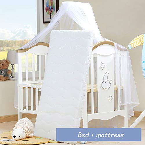 For Sale! 4-in-1 Baby Crib Splicing Queen Bed, Multifunctional Newborn Shaker, for 0~6 Years Old Bab...