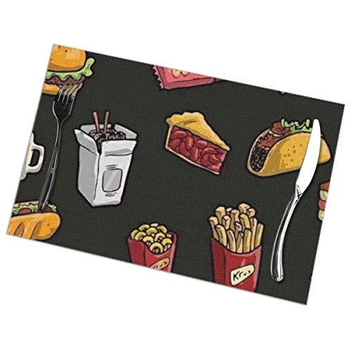 zhaoyuan Chien Leg Burger Drink Bedruckte Tischsets 6er-Set, Esstisch Waschtisch Tischsets für die Küche Esszimmerdekoration