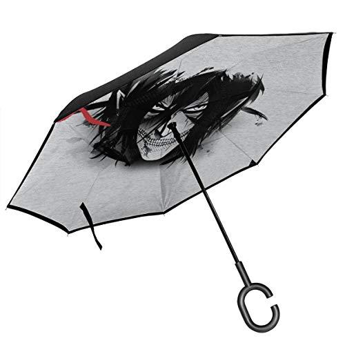 Attack On Titan Paraguas invertido de Doble Capa japonés Blanco y Negro...