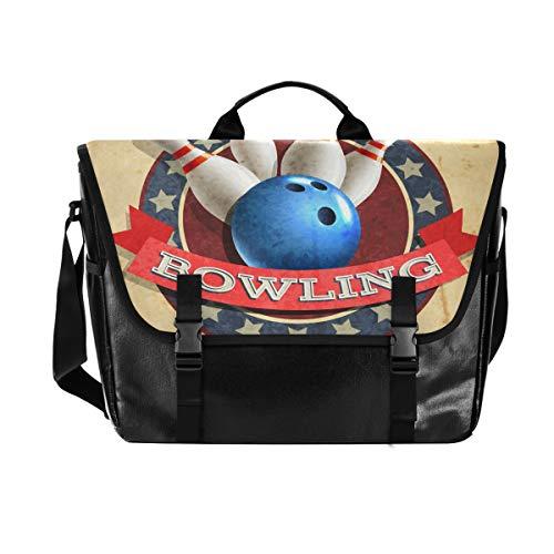 Hunihuni Messenger Bag Bowling Sport Ball Muster Canvas Laptop Aktentasche Tasche Umhängetasche für Herren mit Schultergurt Anzug für 38,1 cm (15 Zoll)