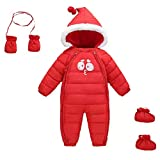 Winter Baby Girl's One-Piece Hood Duck Down Snowsuit Zipper Jumpsuit with Shoes and Gloves for 6-12 Months Red