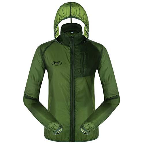 Dooy Men's Cycling Jacket Bike Ultra Light Sun Protection Windbreaker Windproof Anti-UV Coat (New-Green, L)