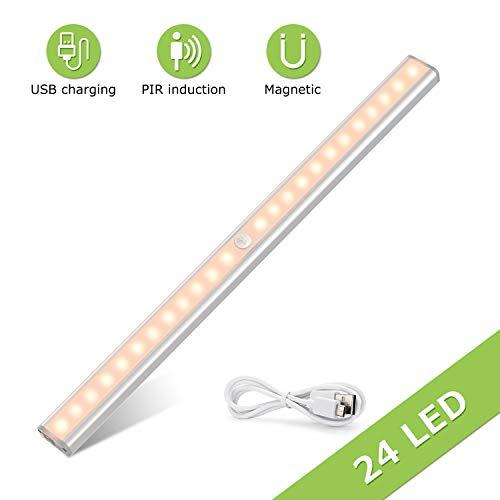 TASMOR LED Unterbauleuchte mit Sensor, Schrankbeleuchtung mit Bewegungsmelder, USB aufladbare LED Küchenleuchte mit Magnetstreifen für Küchen, Kleiderschrank, Unterschrank, Bett(1 Stück)