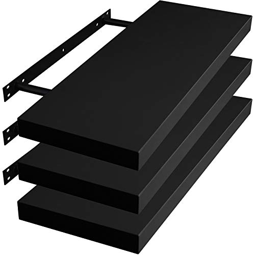 WOLTU RG9318sz-3 Wandregal Wandboard Bücherregal aus MDF Holz, 3er Set schwarz