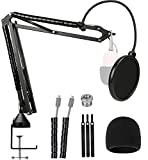 Razer Seiren Mini Mic Boom Arm with Microphone Windscreen and Dual Layered Mic Pop Filter for Razer Seiren Mini USB Streaming Microphone by YOUSHARES