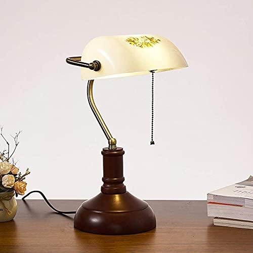 SpiceRack Accesorios para lámpara de Mesa, lámpara de Escritorio de Madera Vintage Lámpara de banquero Ajustable Lámpara de Oficina de Estilo Tradicional Retro Lámpara de Mesa con Pantalla d