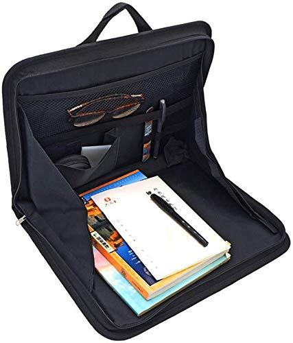 ASEOK - Bandeja de almacenamiento para asiento trasero de coche, soporte para portátil, bandeja para asiento trasero, organizador de mesa de trabajo para comida, multibolsillo(negro).