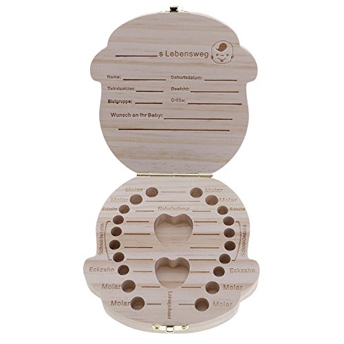 Mmrm Neu ?1 Stück Baby-Milchzähne Box Speichern für das Baby süße Junge Mädchen aus Holz personalisierte Deutsch Boy