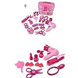 KCSds Maquillaje niños Kit de salón de belleza Set Juguetes Niña juegos de simulación Estación de pelo con el caso Secador de pelo cepillo espejo y labra los accesorios de simulación de juguete de plá