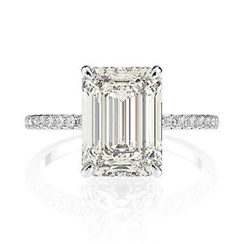 LuckyOne Anillo de compromiso de plata de ley 925 auténtica con diamantes de moissanita de corte esmeralda para mujer
