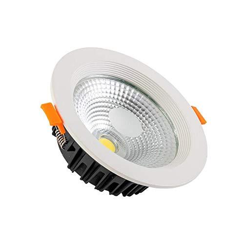 Qyyru Luz de techo empotrada ultra delgada, 5W antirreflejo LED Downlight anti-niebla Instalación simple Proyectores de iluminación de alto brillo 3000-6000K Lluvia de día Redonda para la oficina de l