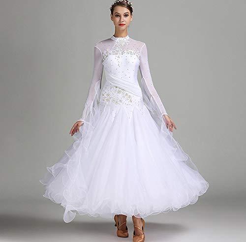 CX Nationaler Standard Ballsaal Tanzkleider Für Damen Wettbewerb Tanzbekleidung Stickerei/Strass Lange Ärmel Walzer Tango Tanzkostüm (Color : White, Size : XL)