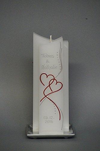 ♥♥ edle Hochzeitskerze ♥♥ mit Steinen - in Sonderform ; inkl. Beschriftung ! I 16