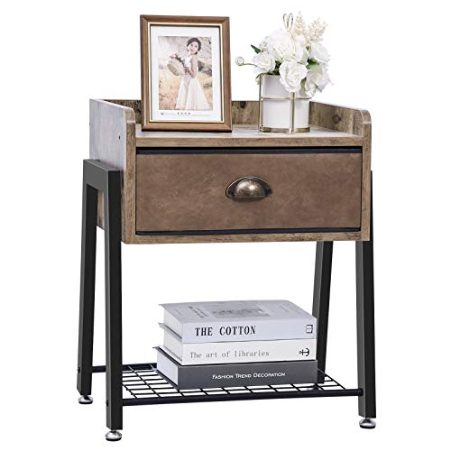Industrial Nachttisch klein Beistelltisch mit Schublade Nachtschrank Kaffeetisch Sofatisch Beistelltisch Nachtkästchen Nachtkommode Nachttische Nachtkasten für Schlafzimmer Wohnzimmer