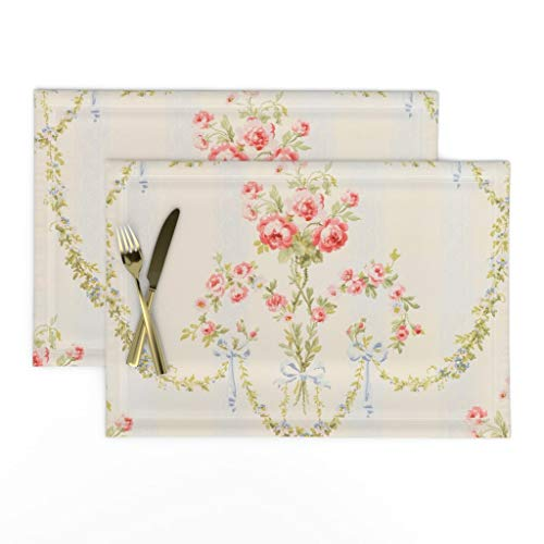 Roostery Cloth Placemats Floral Vintage Victorian Damask Stripe Chic Marie Antoinette Print Linen-Cotton Canvas Placemats Set of 2