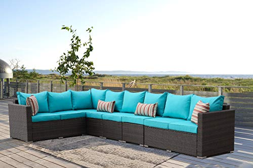 Leaptime Patio Furniture Sofa Garden Couch Set 5-Piece PE Brown Rattan Sofa Outdoor Sectional Sofa Deck Conversation Furniture Set with Turquoise Cushion