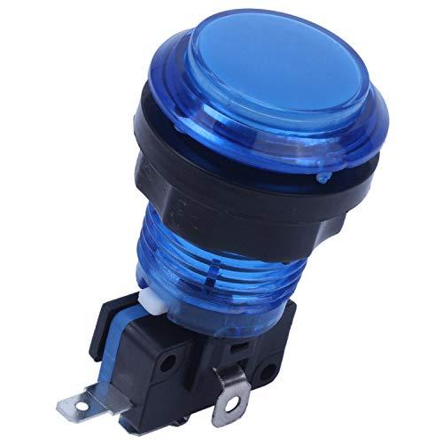 SODIAL Round Interruptor De Botón Pulsador De Videojuego De Arcade Iluminado con Luz Led 5V / 12V Color: Azul