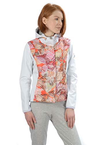 Stayer Veste d'hiver en softshell à capuche pour femme avec col roulé Blanc/multicolore Motif orange et bleu XS Orange