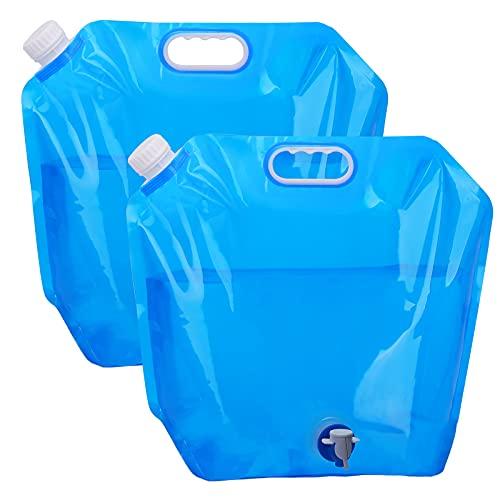 EKKONG Depósito de agua plegable de 10 litros, recipiente para agua potable, bidón plegable para agua potable, depósito de agua con grifo, para exterior, camping, barbacoa, festival (azul)