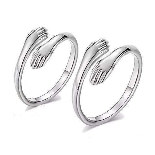 Abrazo de pareja, anillos de mano, anillo de amor, anillo de plata de ley 925 ajustable para mujeres y hombres, regalo de festival (pareja)