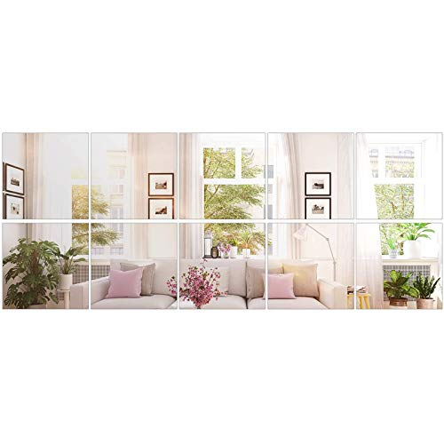 BBTO 10 Pieces Mirror Sheets Self Adhesive Non Glass Mirror Tiles Wall Sticky Mirror (12 x 12 Inch)