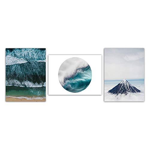 nr Minimalistisch prints afbeeldingen zeegolven zeelandschap en sneeuw bergen schilderij wooncultuur Nordic canvas poster woonkamer muurkunst 50 x 70 cm geen lijst
