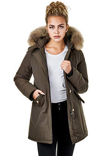 Burocs EFW28 Damenjacke Kunstfell Parka Mantel Winterjacke Kapuze Warm Gefüttert Waschbar Schwarz Navy Khaki, Größe:S, Farbe:Khaki