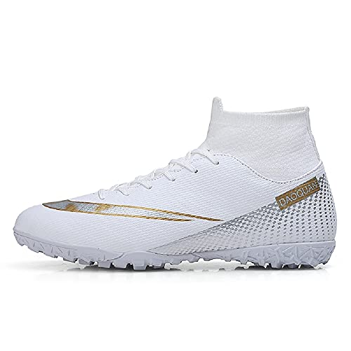 MEILIN Big Boys Girls Soccer Football Lighweight Durable Turf Football Shoes Anti-Slip Soccer Outdoor Performance Firm Cleats Shoes (White, Numeric_7_Point_5)
